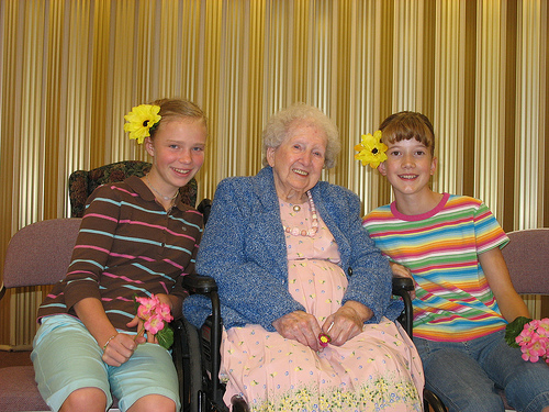 Grandma's 90th Birthday Party with the two girlies