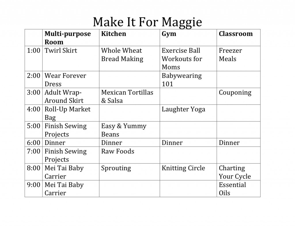 Make It For Maggie Schedule